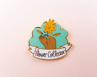 PASTEL BLUE Flower Collector cute enamel pin