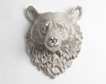 The Raleigh in Silver - Silver Resin Bear Head- Resin Silver Faux Taxidermy- Chic & Trendy
