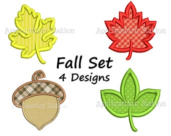 Fall Leaf Set with Acorn Applique Machine Embroidery Design thanksgiving foliage autumn fall set of 4 INSTANT DOWNLOAD
