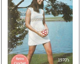 1970s Tunic Dress Crochet Pattern - PDF Instant Download