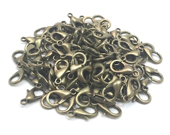 12 mm Antiqued Brass Lobster Claws