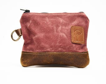 Waxed Canvas Zippered Golf Valuables Field Pouch in Nantucket Red personalized monogrammed