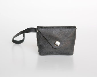 Charcoal Grey Leather Coin Purse - Leather Wrist Wallet - Leather Wallet - Soft Leather Wallet - Envelope Wallet - Small Leather Purse