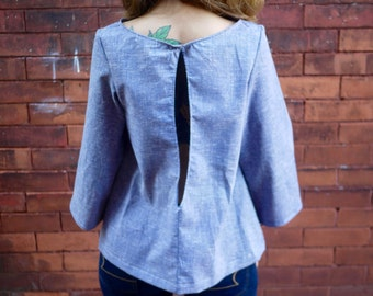 Vintage Blue Open Back Bell Sleeve Mod Top Shirt|Plus Size Top|Long Sleeve Shirt|Scoop Neck|Retro Shirt|Crop Top|Eco Shirt|50s 60s Shirt