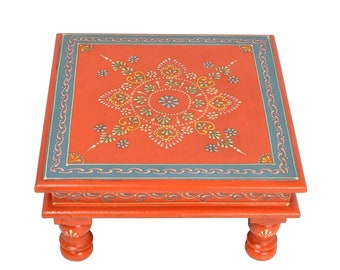 """Indian Wooden Furniture Table Orange Painted Low Side Small Table 11"""""""