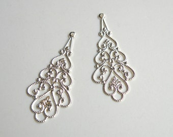 10 Filigree scalloped teardrop connector links shiny silver plated brass component 38x18mm A4739FN