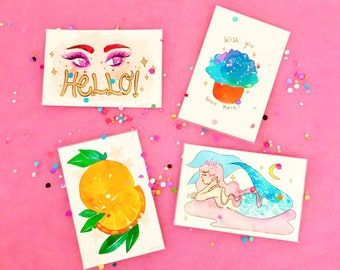 Hand painted Watercolor Postcards