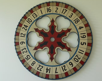"24"", Carnival Wheel, Wood, Hand Painted, Folk Art, Primitive, Game Board, Game Boards,"