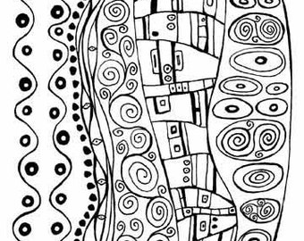5x7 altered art rubber stamp sheet Klimt design by Barbara McGuire for polymer, clay and crafts