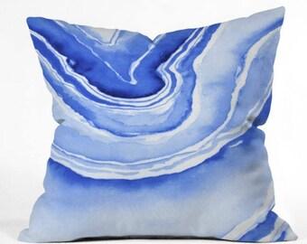 Blue Agate Outdoor Throw Pillow