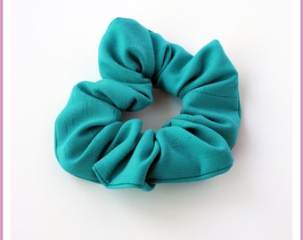 Elastic hair tie/scrunchie size STANDARD or MINI - turquoise fabric - girl and woman