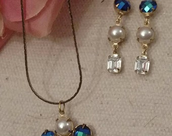 Iridescent Faceted Necklace, Earrings, Matching Set, Vintage Connectors, Faux Pearl and Blue