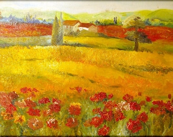 Poppies - Original Oil Painting -15,7x11,8 inch