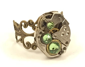 THREE GREEN Steampunk Vintage Ring