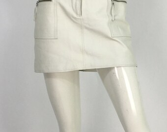 Vintage off white leather skirt/90s mendocino white leather skirt/white leather mini skirt