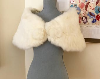 50s Winter White Fur Stole With Poms Super Soft Picture Perfect Old Hollywood Topper for Wedding or Gala