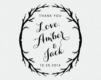Personalized Thank You Stamp, Wedding Favor, Self Inking Stamp, Wood Handle, Circle Stamp, Personalized, Branches (T203)