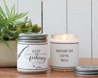 I Wish I Was Fishing Soy Candle Gift | Father's Day Gift | Gift for Dad | Soy Candle Gift | Birthday Gift for Dad | Dad Gift