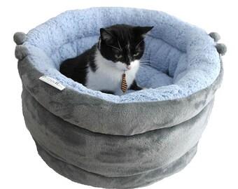 Cat bed, cat furniture, designer cat bed, small dog bed RABBIT TAIL, cat basket, pet basket, round cat bed,snuggle cat cave, pet baskets bed