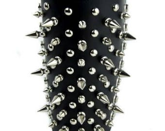 Silver Spike & Stud Black Leather Wristband Armband Gauntlet With Straps - ARM102FP