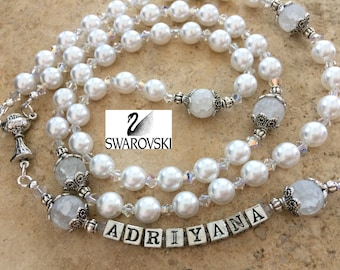 White Pearl Rosary, Personalized Rosary, Confirmation Rosary, First Communion Rosary, Baptism Rosary, Swarovski Rosary, Girl's Rosary