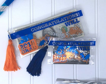 Graduation Gift Card Holder, Graduation Money Holder Card, Custom Blue and Orange Graduation Card, Graduation Gift, Gift Card Holder