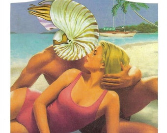 Original Collage, Summer Romance Beach Art, Beach Lover, Coastal Art, Beach Life, Seashore Artwork, Summer Love
