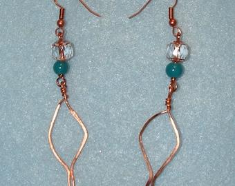 Falling Hammered Copper Leaf Earrings