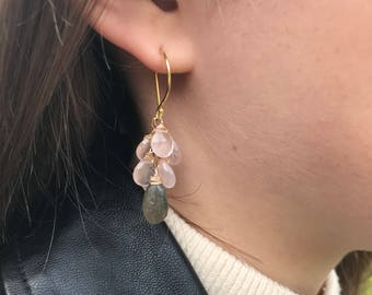Rose Quartz and Labradorite Dangle Earrings on Gold Vermeil