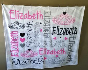 Princess Blanket, Personalized Baby Blanket, Monogrammed Baby Blanket, Personalized Baby Gift, Custom Baby Blanket, Princess Crown Blanket