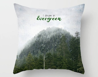 Throw Pillow Case, Home Decor, Evergreen trees, wilderness, PNW, mountain photography by RDelean