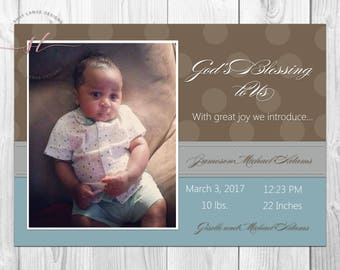 Brown & Blue Baby Boy Announcement// New Baby// Baby Boy// Baby Announcement