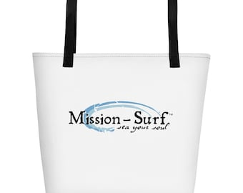Beach bag with the Mission-Surf wave logo on outside and inside. A trendy beach tote to put everything when hitting those sunny beaches.