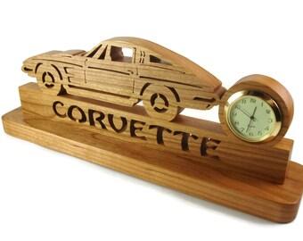 1963 Split Window Corvette Desk Or Shelf Quartz Clock Handmade From Cherry Wood By KevsKrafts