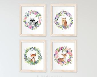 Baby girl gift - Baby girl wall art - Girls room decor - Printable baby room - Woodland animals - Floral watercolor - Girls print set