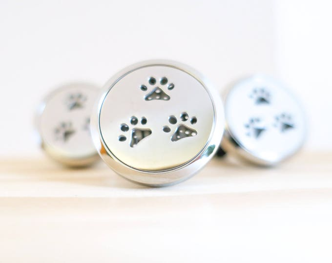 Featured listing image: Dog Paw Car Diffuser | Aromatherapy | Car Diffuser | Stainless Steel | Essential Oil | Diffuser Felt Pads | Car Therapy | Clip On Diffuser