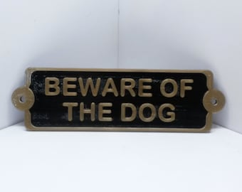 Beware of the Dog Antique Style Sign Plaque Fake Cast Iron Decor