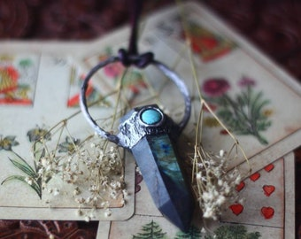 Labradorite and Turquoise Necklace - Witchy - Crystal Jewelry