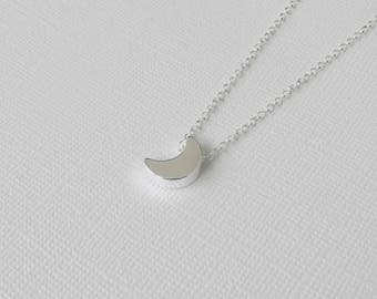 Moon Necklace, Crescent Moon, Lunar Necklace, Celestial Jewelry, Silver Necklace, Gifts For Her, Bridesmaid Gift, Bridal Jewelry, BFF Gift