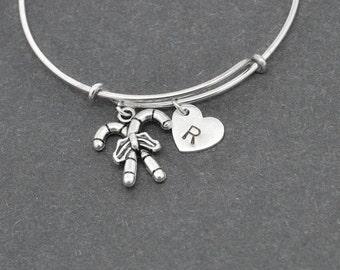 Candy Cane Bangle, Sterling Silver Bangle, Candy Cane Bracelet, Bridesmaid Gift, Personalized Bracelet, Initial Bracelet, Charm Bangle