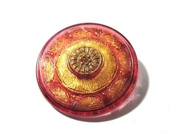 Czech Glass Sun Flower Button Hand Painted Gold Luster VINTAGE One (1) 36mm Flower Czech Glass Button Jewelry Fashion Supplies (S131)