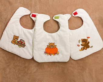 3 pack of bibs featuring cute bears in autumn