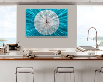 Bright Aqua & Silver Abstract Metal Wall Clock - Functional Art - Modern Metallic Timekeeper - Hanging Clock - Catwalk Aqua by Jon Allen