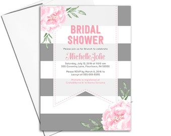 Country bridal shower invitation printable | pink and gray wedding shower invites rustic | stripes flowers modern unique - WLP00651