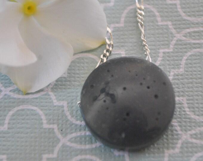 Leland Bluestone Necklace pendant on Sterling Silver chain simple, boho, minimalist