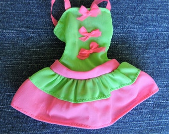 Lime Green and Hot Pink Vintage Sundress for Barbie or Barbie Size Doll