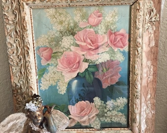 ON HOLD ! Please do not purchase !  Vintage Print/Litho Roses Gesso Pinks/Blues Shabby