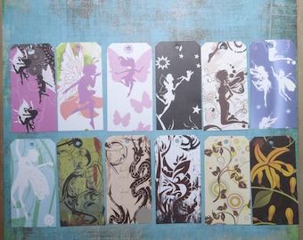 Tags (set nr 1) labels (batch nr 1)-Fantasy style Design patterned paper/paper style Fantasy / set of 12 / set of 12
