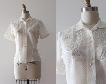 vintage 1950s blouse // 50s button up blouse