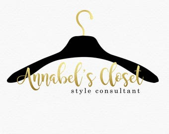 Hanger Logo Design , Stylist Logo , Fashion Logo , Black and Gold , Gold Foil , Style Blog , Fashion Blog , Personal Stylist , Seamstress